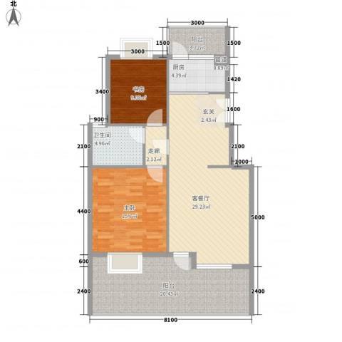 维科水岸心境2室1厅1卫1厨89.71㎡户型图