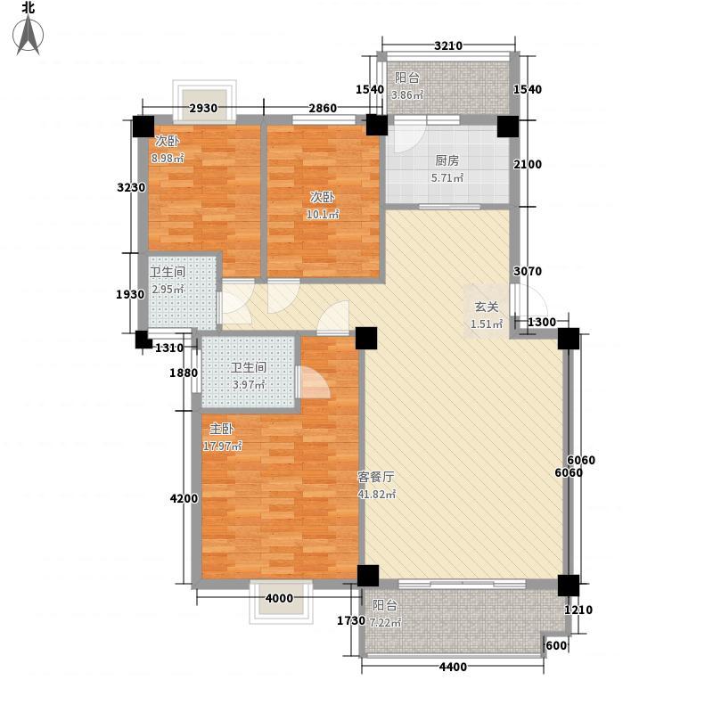 万新阳光城155.00㎡E户型3室2厅2卫1厨