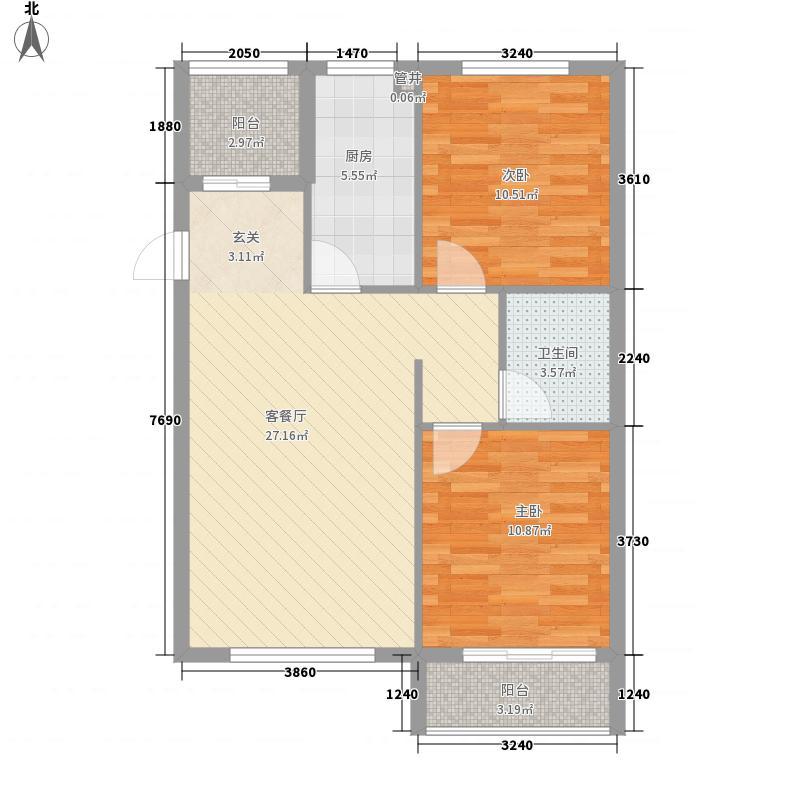 科华・锦东茗郡8.76㎡A3户型2室2厅1卫