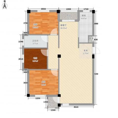 谷和温馨苑3室1厅1卫1厨104.00㎡户型图