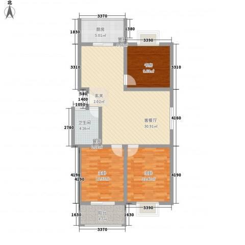 美丽樵村3室1厅1卫1厨114.00㎡户型图