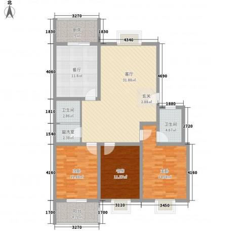 美丽樵村3室2厅2卫1厨143.00㎡户型图