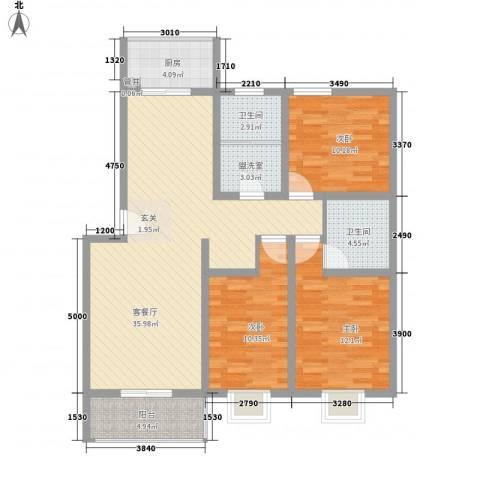 美丽樵村3室1厅2卫1厨127.00㎡户型图
