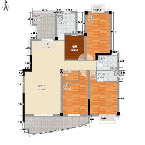 沃得城市中心4室1厅2卫1厨183.00㎡户型图