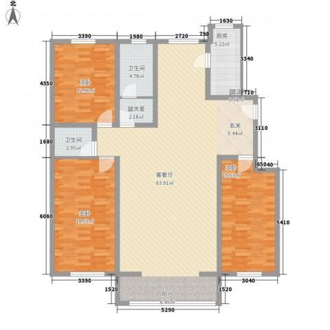 景苑花园3室1厅2卫1厨177.00㎡户型图
