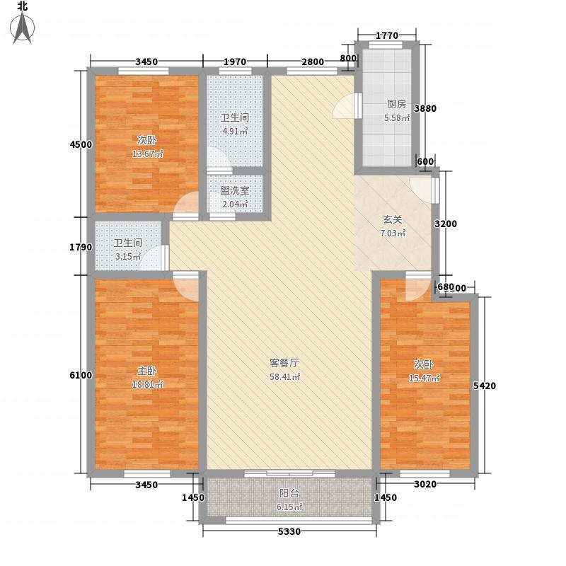 景苑花园181.00㎡E户型3室2厅2卫1厨
