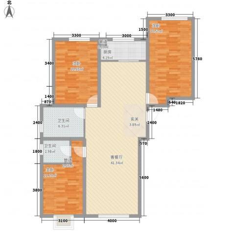东方之珠龙腾苑3室1厅2卫1厨138.00㎡户型图