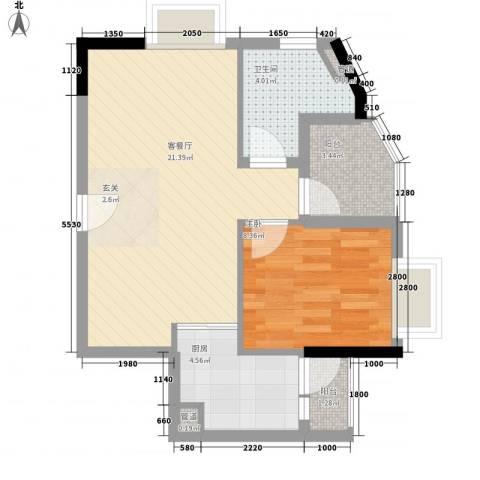 GOGO Park万荟时代1室1厅1卫1厨59.00㎡户型图
