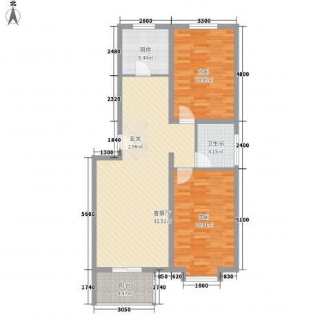 凝瑞苑2室1厅1卫1厨98.00㎡户型图