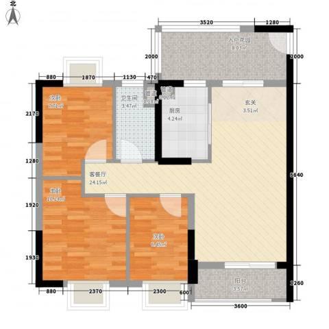 GOGO Park万荟时代3室1厅1卫1厨89.00㎡户型图