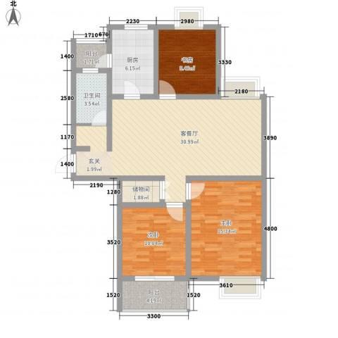 大学城博雅居3室1厅1卫1厨119.00㎡户型图