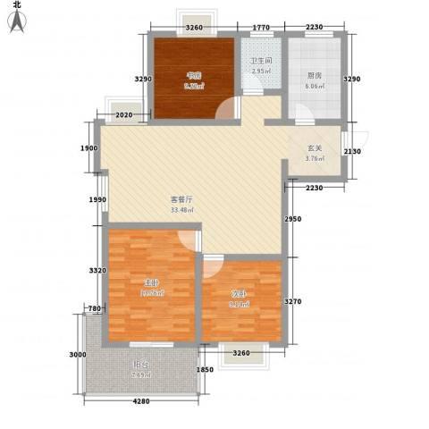 大学城博雅居3室1厅1卫1厨118.00㎡户型图