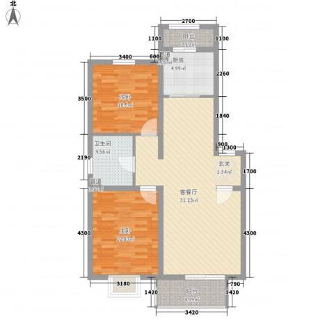 中山雅园2室1厅1卫1厨101.00㎡户型图