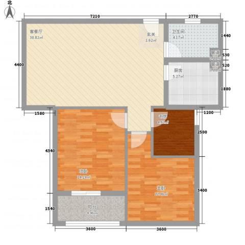 兰亭国际公寓3室1厅1卫1厨101.00㎡户型图