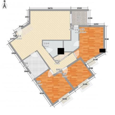东岸未来城3室1厅2卫1厨134.00㎡户型图