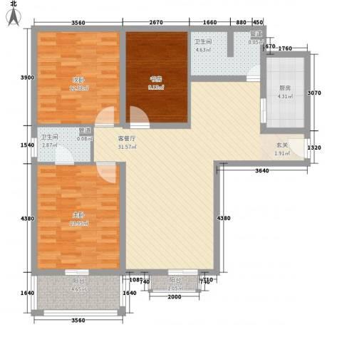 兰亭国际公寓3室1厅2卫1厨118.00㎡户型图