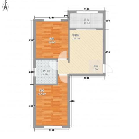 谷和温馨苑2室1厅1卫1厨63.00㎡户型图