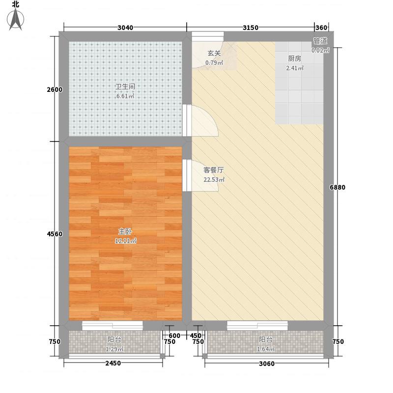 兴园47.00㎡小区户型1室