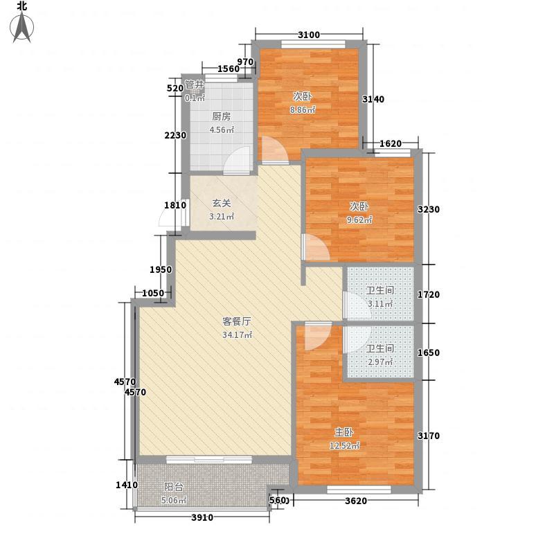 科华・锦东茗郡114.25㎡D2户型3室3厅