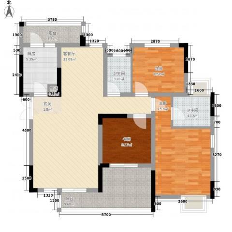 金色池塘3室1厅2卫1厨133.00㎡户型图