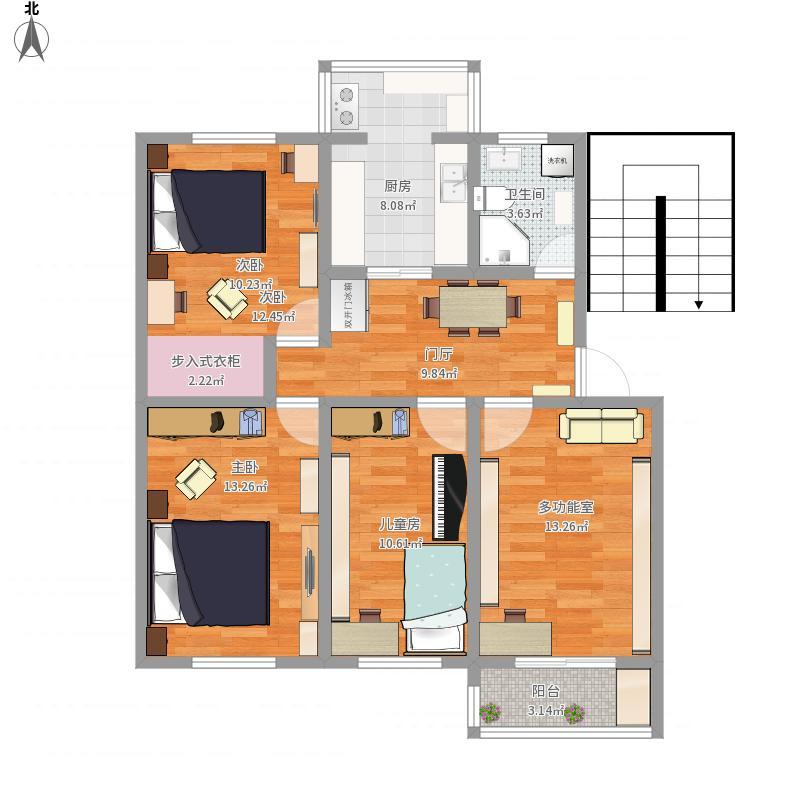西3楼122户型装修及摆设图1