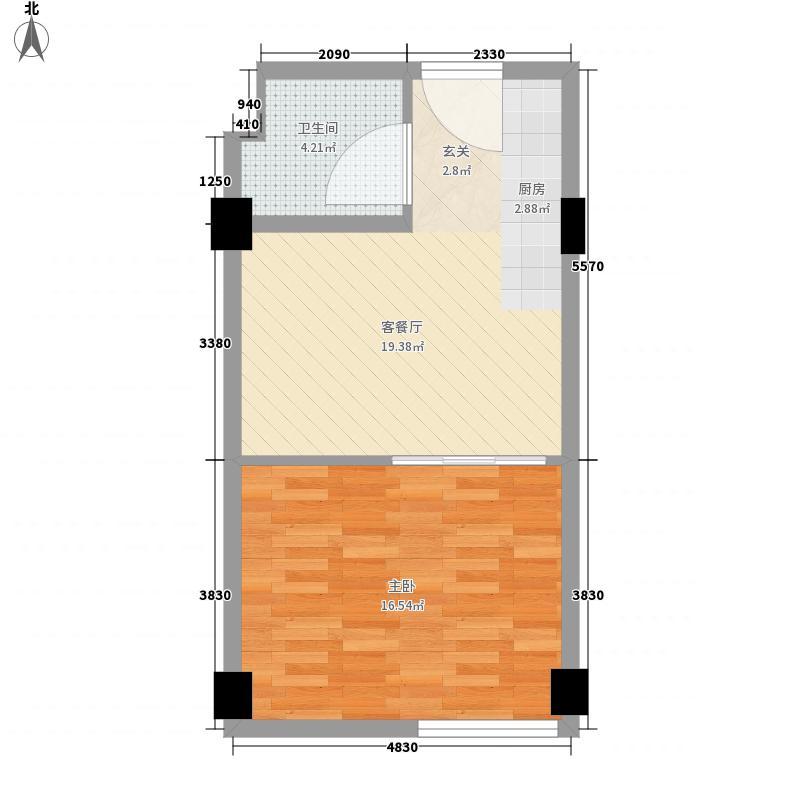3688英尺56.00㎡户型1室1厅1卫1厨