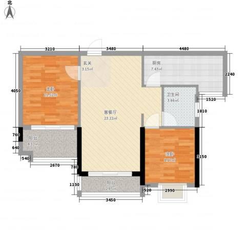 绿湖豪城2室1厅1卫1厨88.00㎡户型图