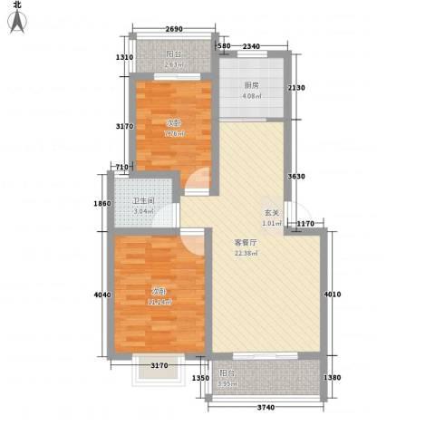 世纪新城2室1厅1卫1厨81.00㎡户型图