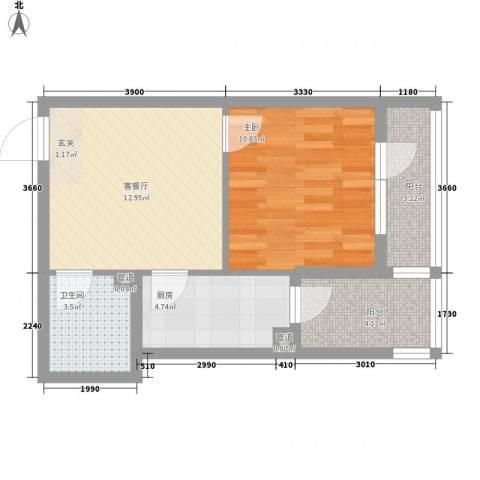 水晶恋城1室1厅1卫1厨49.00㎡户型图