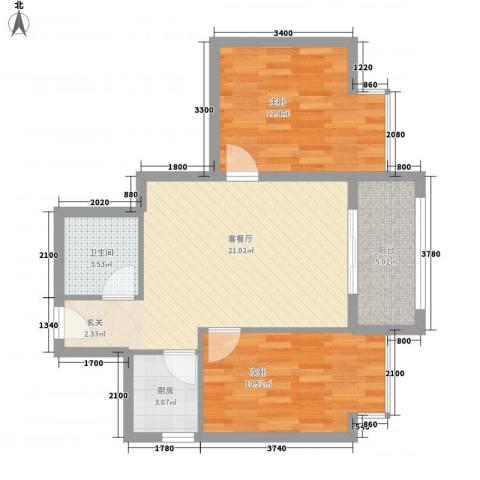 罗马花园2室1厅1卫1厨77.00㎡户型图