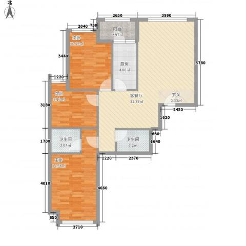 罗马花园3室1厅2卫1厨111.00㎡户型图