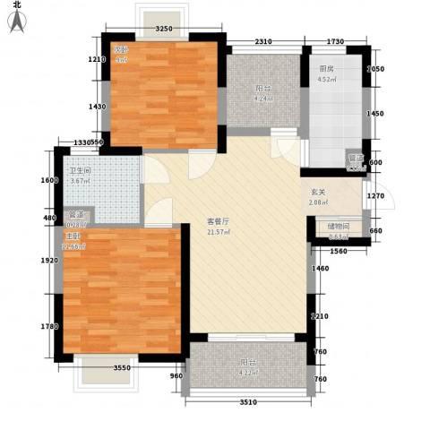怡林花园二期2室1厅1卫1厨70.00㎡户型图
