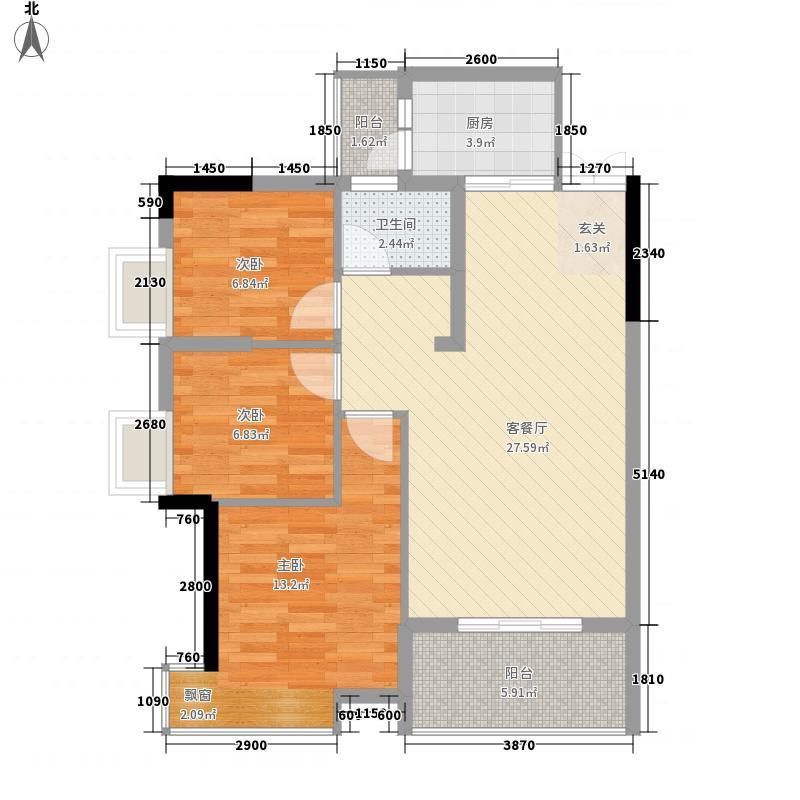 兆麟锦桦豪庭89.00㎡E户型3室2厅1卫1厨