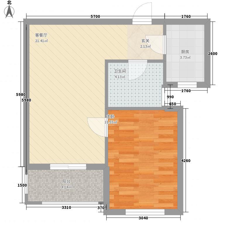 桑尼小镇61.00㎡桑尼小镇户型图2号楼A户型1室1厅1卫1厨户型1室1厅1卫1厨