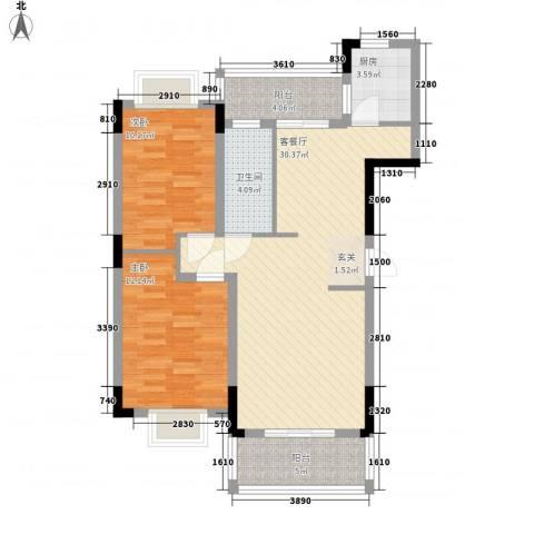 联发江岸汇景2室1厅1卫1厨100.00㎡户型图