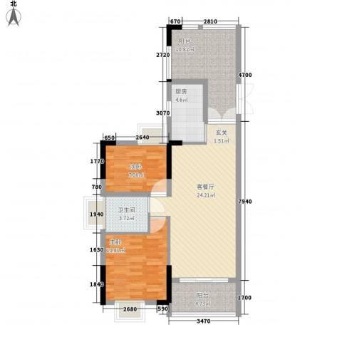 绿湖豪城2室1厅1卫1厨96.00㎡户型图
