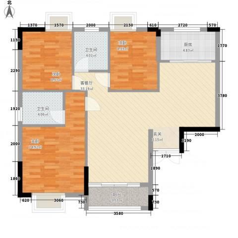 绿湖豪城3室1厅2卫1厨115.00㎡户型图