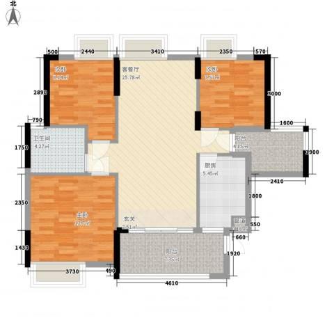 绿湖豪城3室1厅1卫1厨108.00㎡户型图