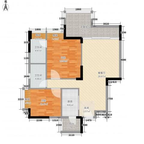 时富城东世家2室1厅2卫1厨85.00㎡户型图