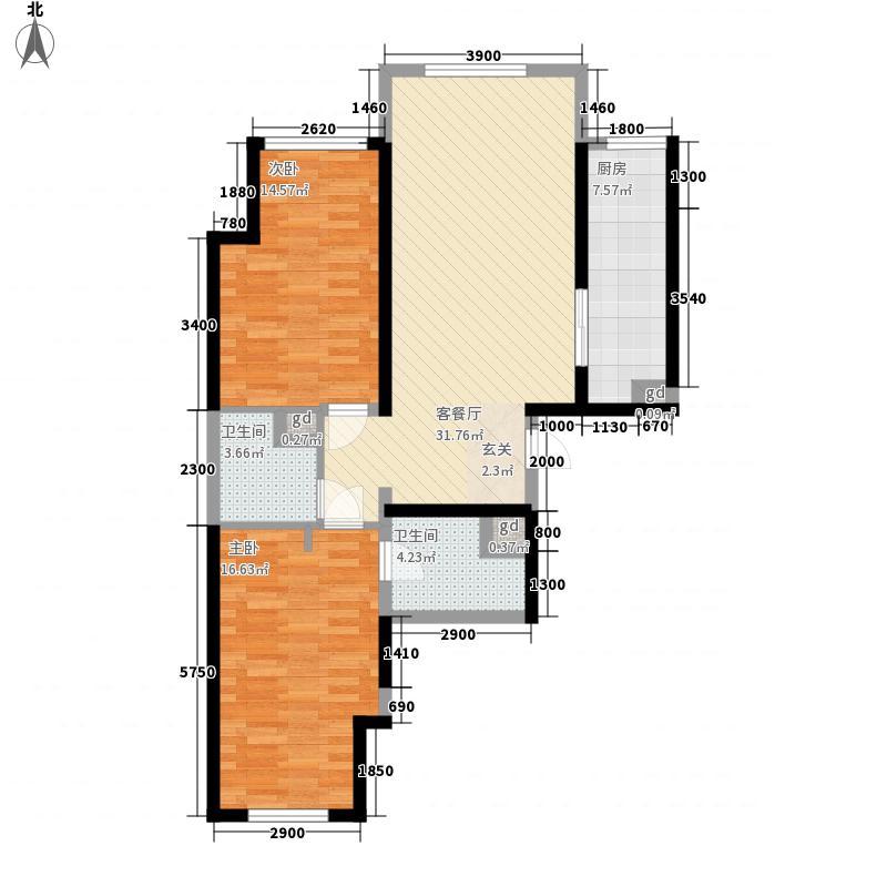 万科新地城95.00㎡万科新地城户型图紫台c户型2室2厅2卫1厨户型2室2厅2卫1厨