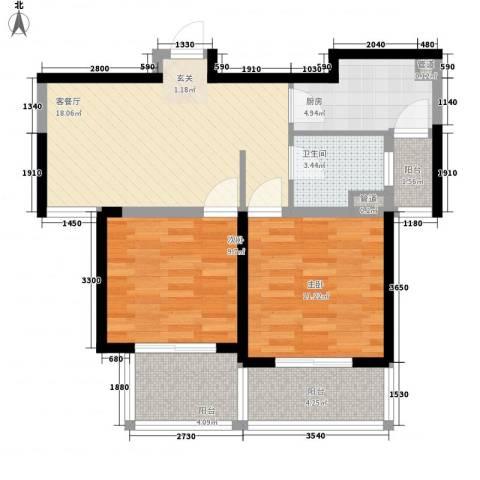 怡林花园二期2室1厅1卫1厨68.00㎡户型图