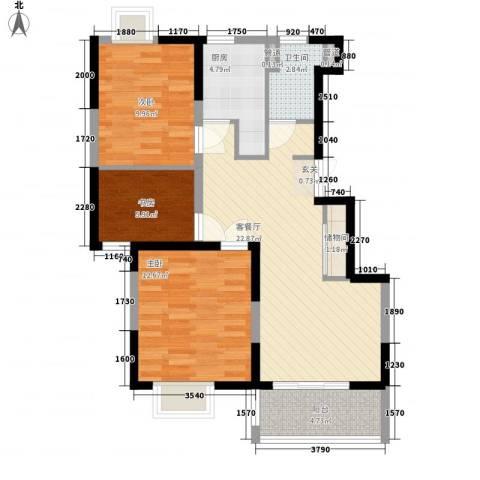 怡林花园二期3室1厅1卫1厨76.00㎡户型图