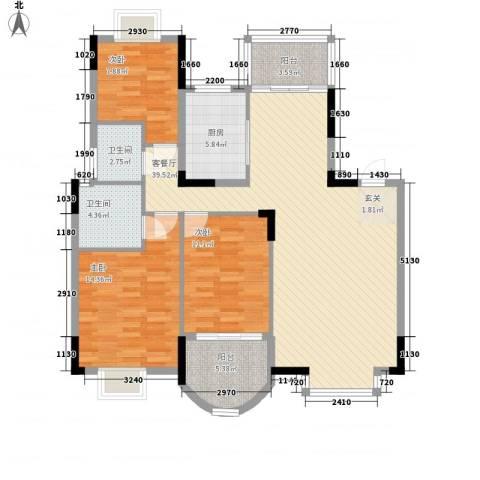 联发江岸汇景3室1厅2卫1厨134.00㎡户型图