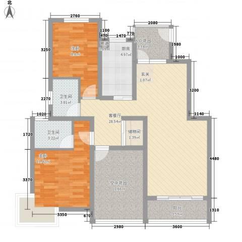 蓉湖壹号2室1厅2卫1厨116.00㎡户型图