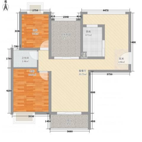 蓉湖壹号2室1厅1卫1厨110.00㎡户型图