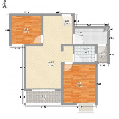 蓉湖壹号2室1厅1卫1厨89.00㎡户型图