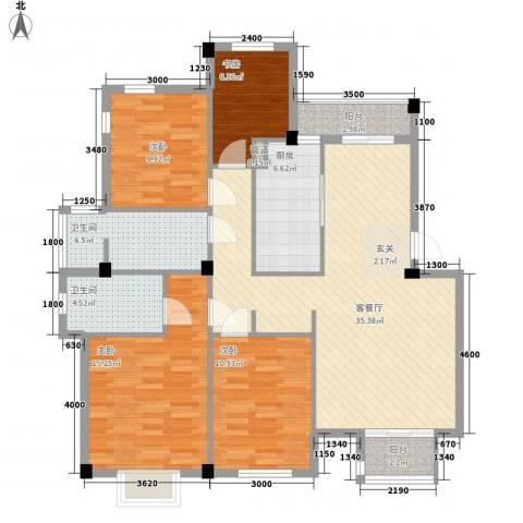 水岸丽景4室1厅2卫1厨141.00㎡户型图