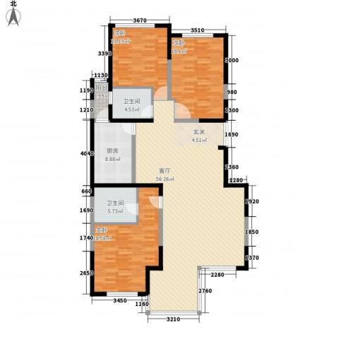 浩天天娇源3室1厅2卫1厨173.00㎡户型图