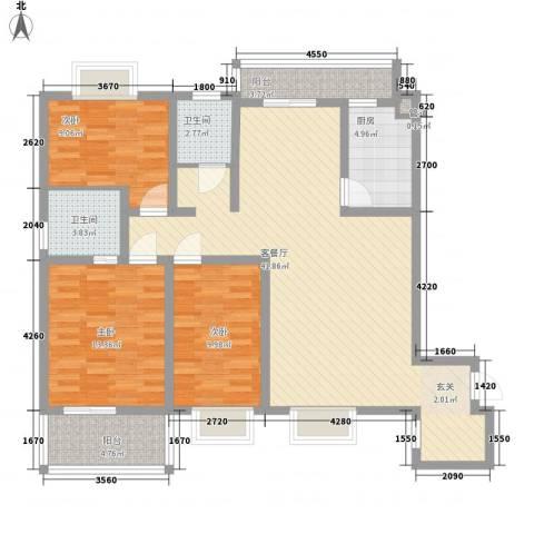 恒丰天湘华庭3室1厅2卫1厨126.00㎡户型图