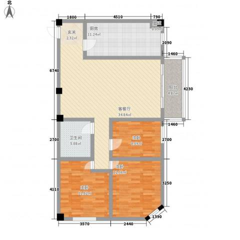 SOLO自由城3室1厅1卫1厨107.00㎡户型图